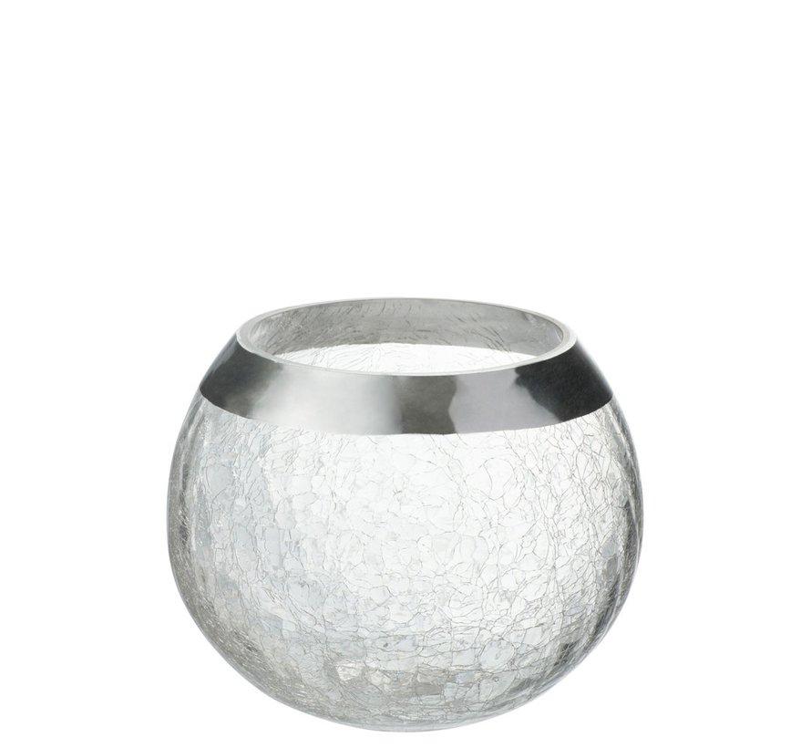 Theelichthouder  Bol Gebroken Glas Transparant Zilver - Large