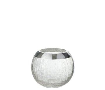 J -Line Theelichthouder Bol Gebroken Glas Transparant Zilver - Medium