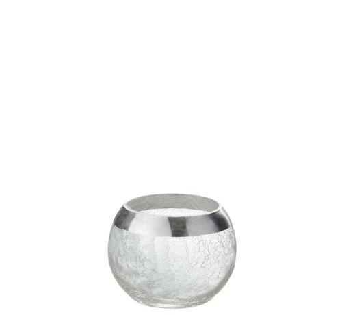 J -Line Theelichthouder Bol Gebroken Glas Transparant Zilver - Small