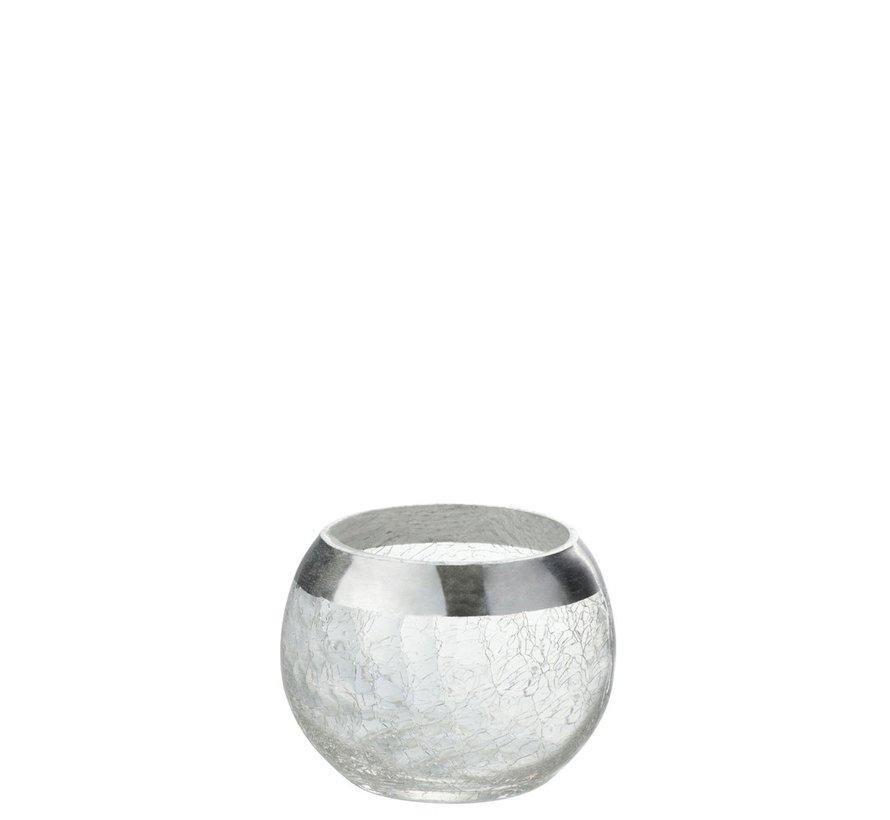 Theelichthouder Bol Gebroken Glas Transparant Zilver - Small