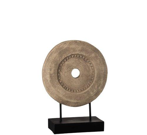 J -Line  Decoratie Cirkel Op Voet Lichtbruin - Donkerbruin