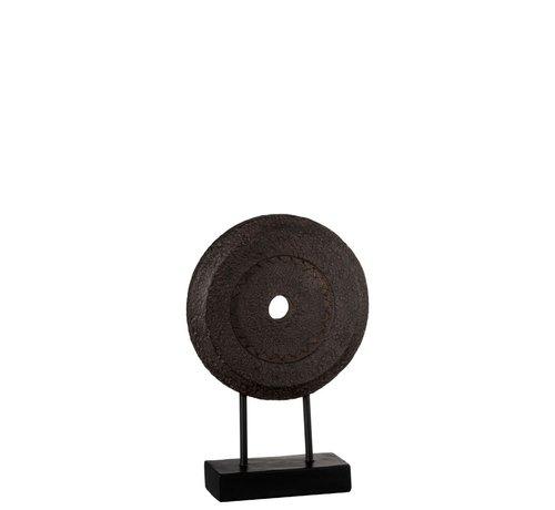 J -Line Decoratie Cirkel Op Voet Relief Donkerbruin - Small