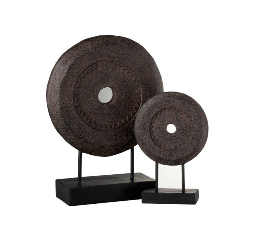 Decoratie Cirkel Op Voet Relief Donkerbruin - Small
