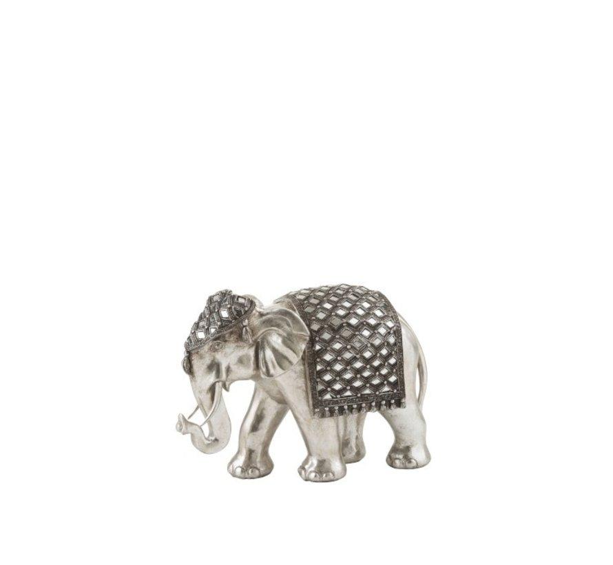 Figurine Elephant Mirror Silver Medium