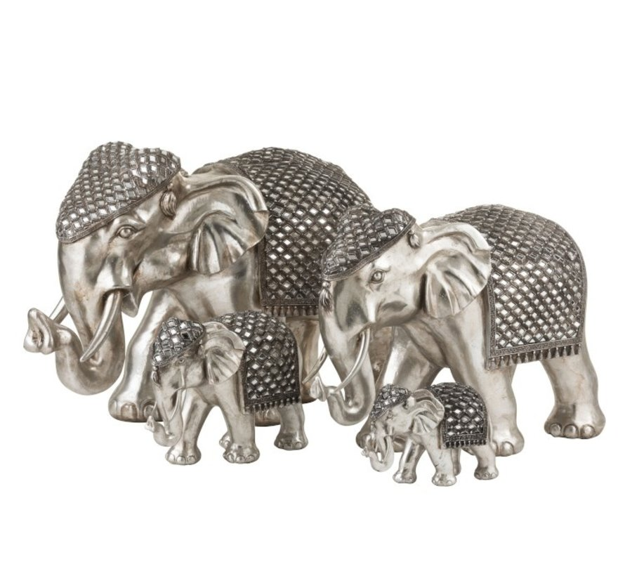 Decoration Sculpture Elephant Mirror Silver - Large