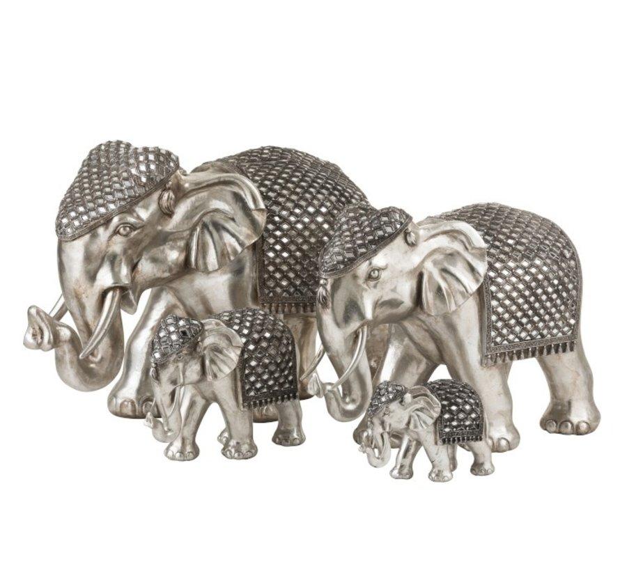 Figurine Elephant Mirror Silver Large