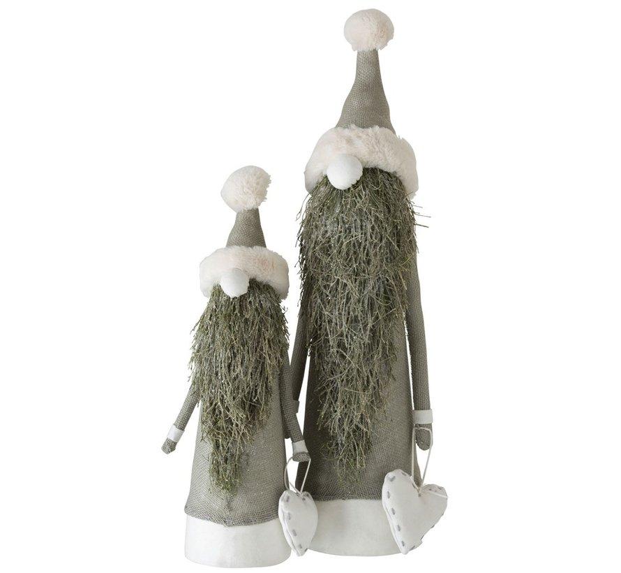 Decoratie pop Kerstman Textiel Takken Groen - Large