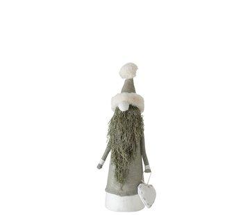 J-Line Decoratie pop Kerstman Textiel Takken Groen - Small