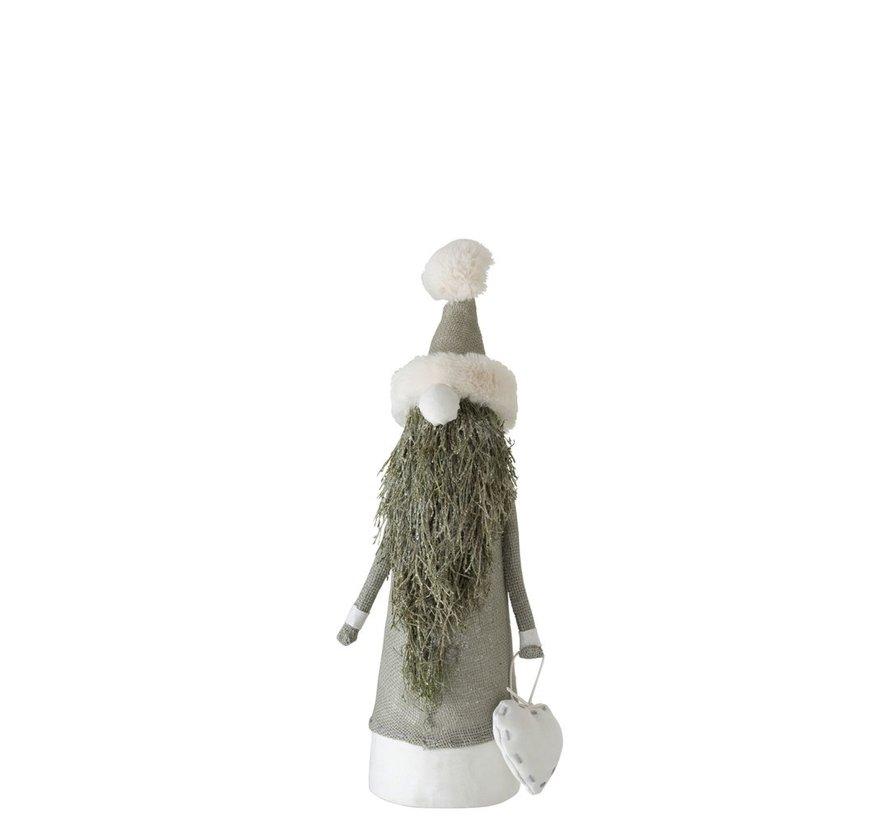 Decoratie pop Kerstman Textiel Takken Groen - Small