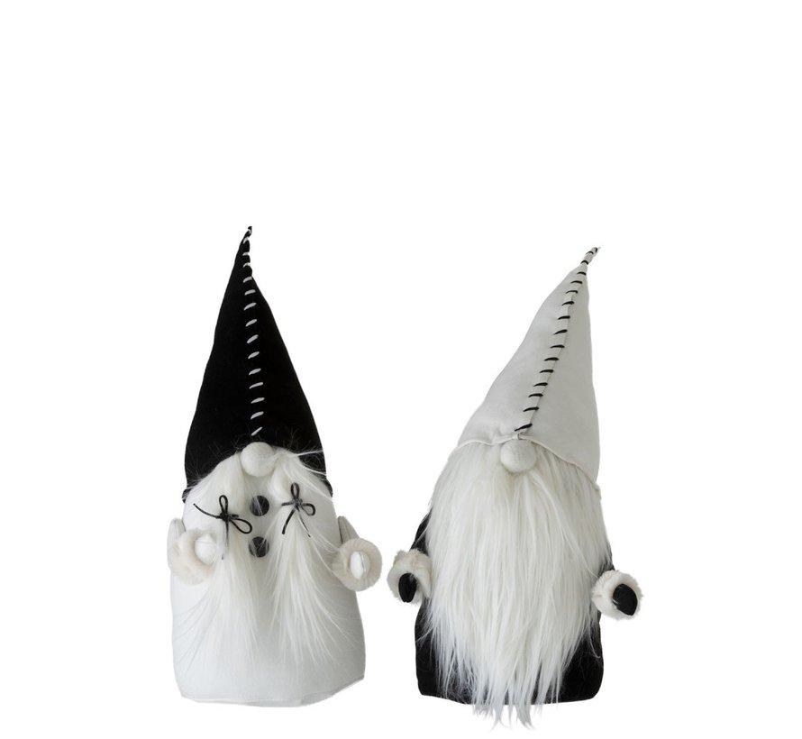 Decoratie pop Kerstman Textiel Zwart Wit - Large