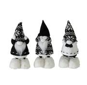J-Line Decoration doll Santa Hear See Silence Black - White