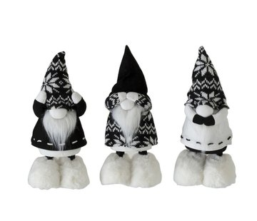 J -Line Decoratie pop Kerstman Horen Zien Zwijgen Zwart - Wit