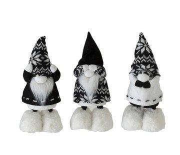 J-Line Decoratie pop Kerstman Horen Zien Zwijgen Zwart - Wit