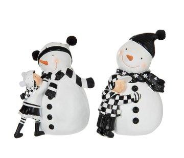 J -Line Decoration Snowman With child Black White - Small