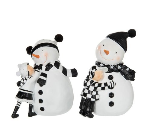 J -Line Decoratie Sneeuwman Met kind Zwart Wit - Small