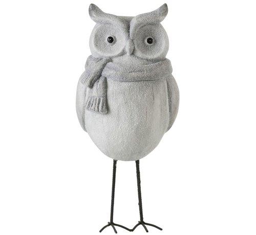 J -Line Decoration Owl Ceramic Winter Gray - Large
