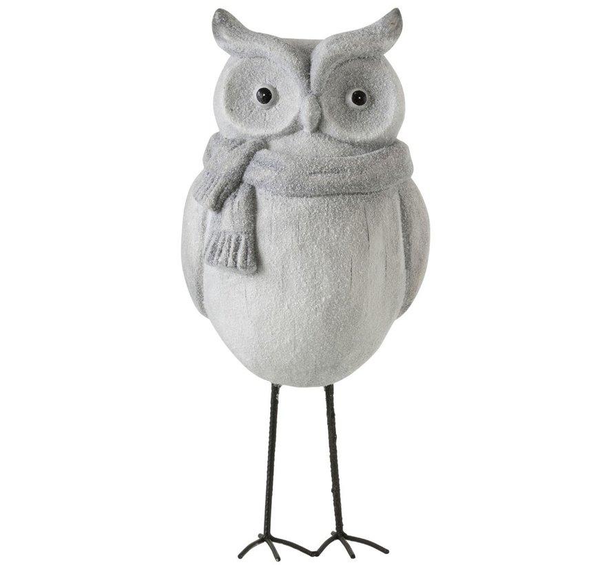 Decoration Owl Ceramic Winter Gray - Large