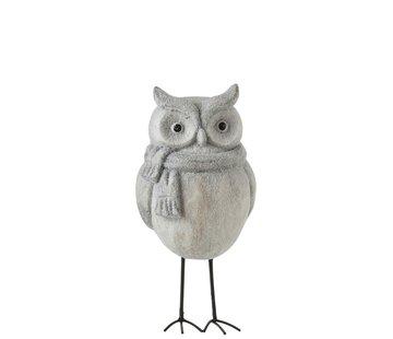 J -Line Decoration Owl Ceramic Winter Gray - Medium