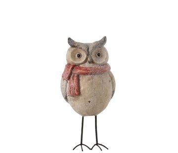 J -Line Decoration Owl Ceramic Winter beige Red - Medium