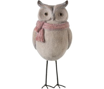 J-Line Decoration Owl Ceramics Winter beige Red - Large
