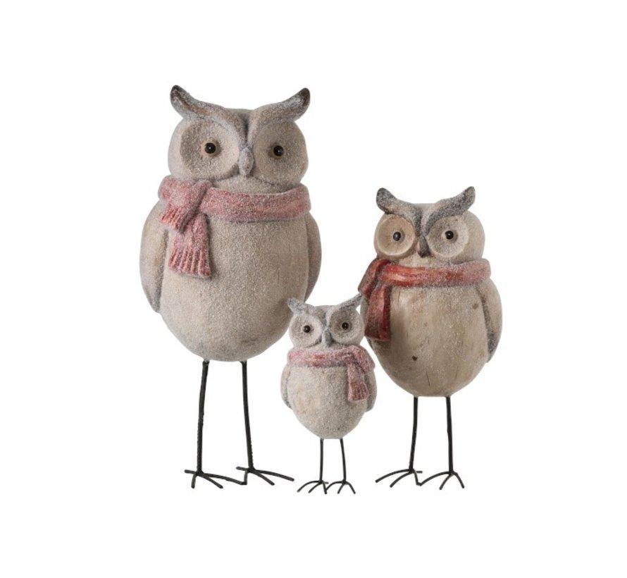 Decoration Owl Ceramics Winter beige Red - Large