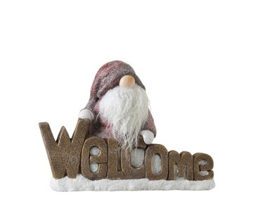 J -Line Decoratie Beeld Kabouter Poly Welcome Rood - Bruin