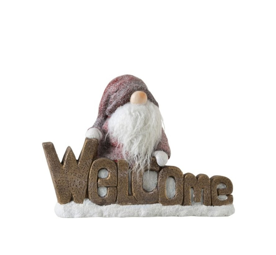 Decoratie Beeld Kabouter Poly Welcome Rood - Bruin