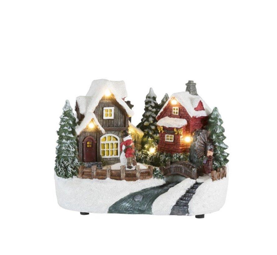 Decoratie Kersthuisje Winterfiguren Sneeuwman Led  - Mix