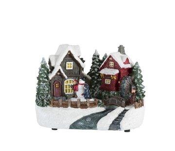 J -Line Decoratie Kersthuisje Winterfiguren Sneeuwman Led  - Mix