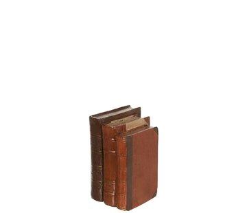 J -Line Decoratie Boeken Bruin Drie Oude Look - Medium