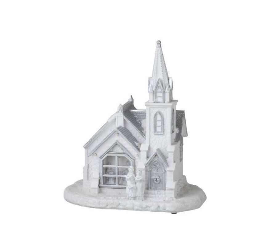 Decoratie Kerk Winter Led Verlichting Wit - Zilver