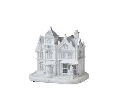 J -Line Decoration House With Figures Winter Led Lighting White - Silver