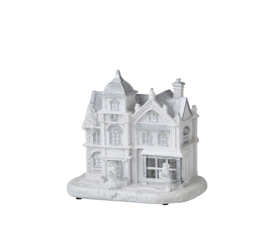 Decoration House With Figures Winter Led Lighting White - Silver