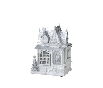 J-Line Decoratie Huis Winter Led Verlichting Wit - Zilver