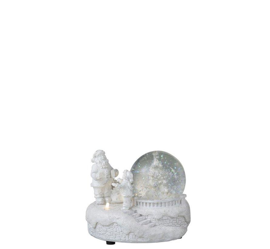 Decoratie Sneeuwbol Winter Led Verlichting Glitters - Wit