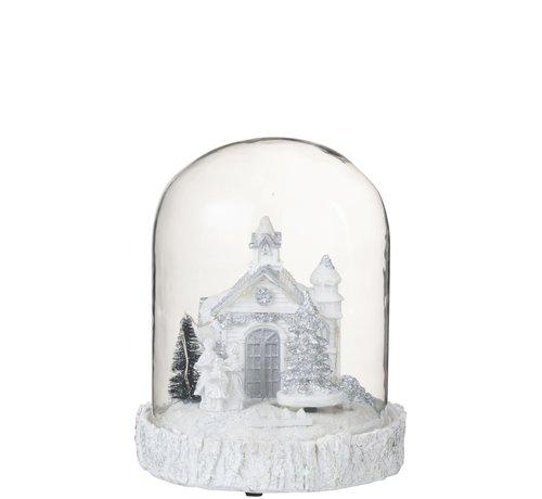 J-Line Decoratie Stolp Kerk Winter Led Verlichting Glitters - Wit