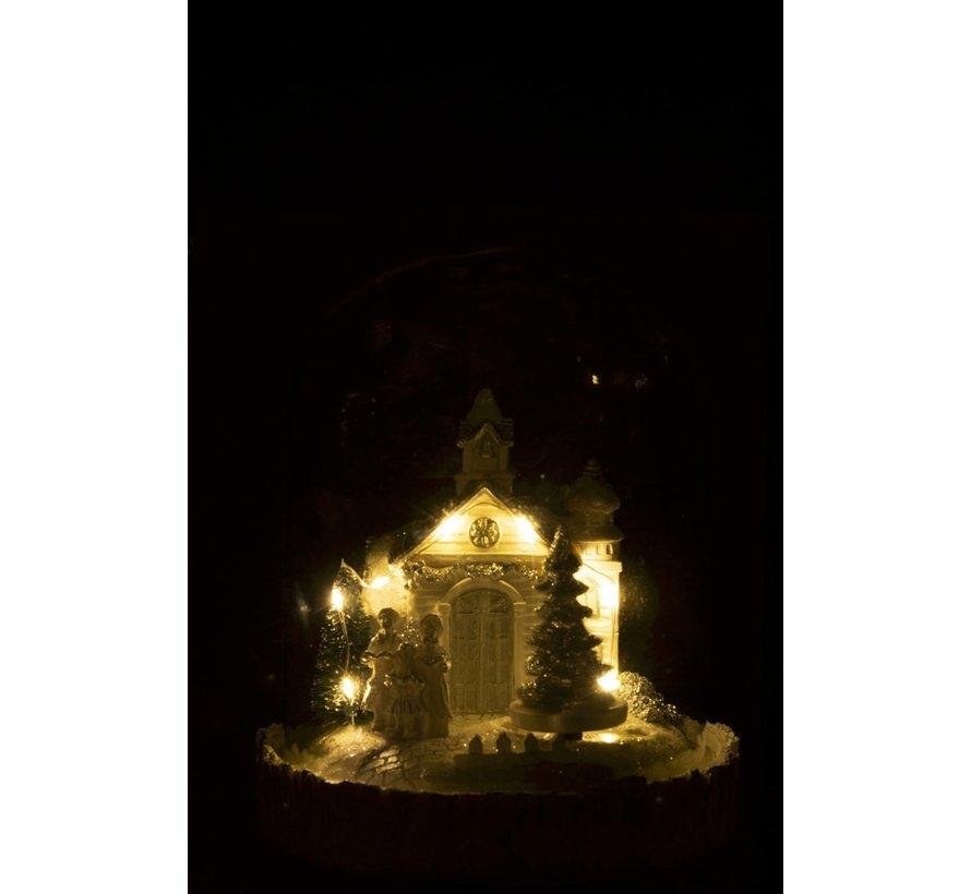 Decoratie Stolp Kerk Winter Led Verlichting Glitters - Wit