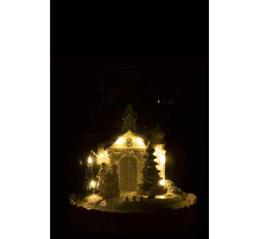 Decoration Stolp Kerk Winter Led Lighting Glitters - White