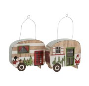 J -Line Decoratie Caravan Led Hangend Metaal Hout Rood - Groen