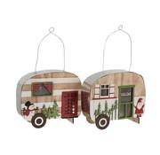 J -Line Decoration Caravan Led Hanging Metal Wood Red - Green