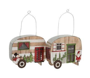 J-Line  Decoratie Caravan Led Hangend Metaal Hout Rood - Groen