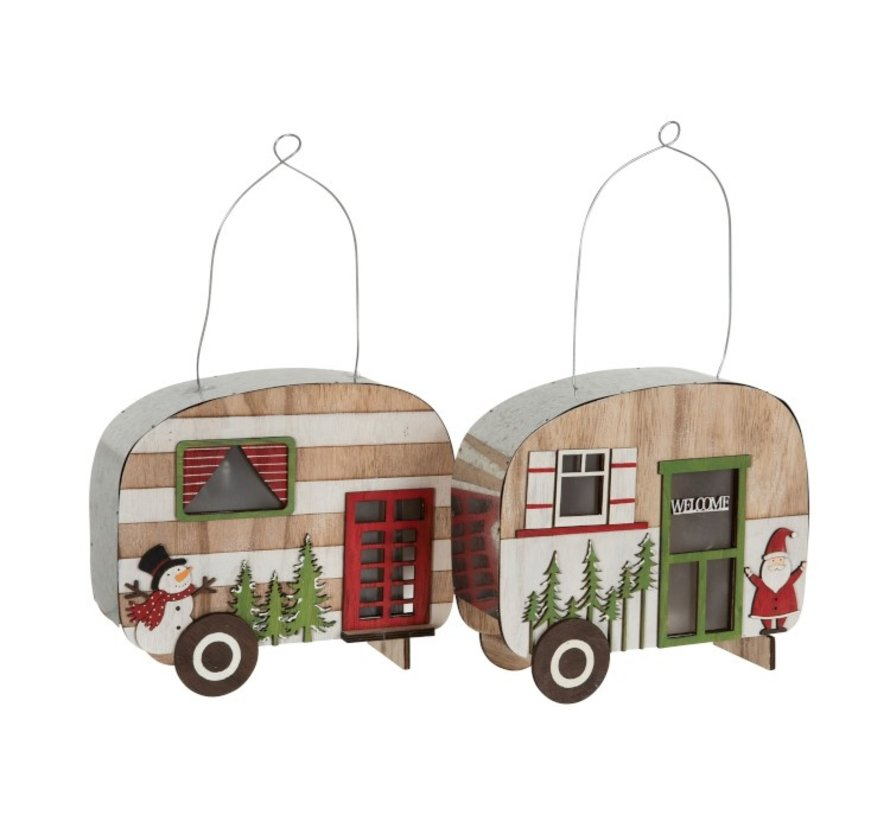 Decoration Caravan Led Hanging Metal Wood Red - Green
