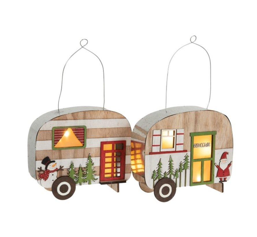 Decoratie Caravan Led Hangend Metaal Hout Rood - Groen