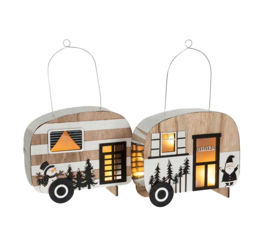 Decoratie Caravan Led Hangend Metaal Zwart Wit - Naturel