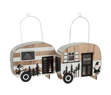 J -Line Decoratie Caravan Led Hangend Metaal Zwart Wit - Naturel