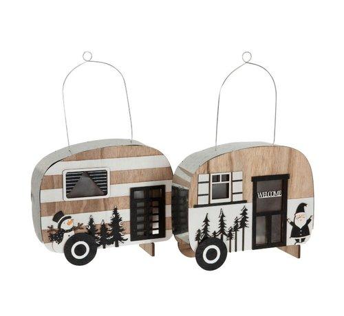 J -Line Decoration Caravan Led Hanging Metal Black White - Natural