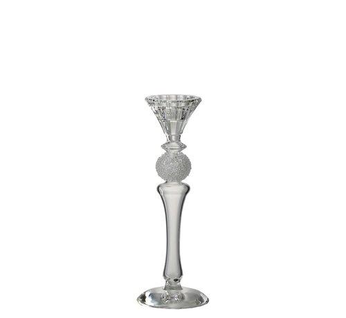 J -Line Candlestick Glass Sugar Bowl Transparent - Small