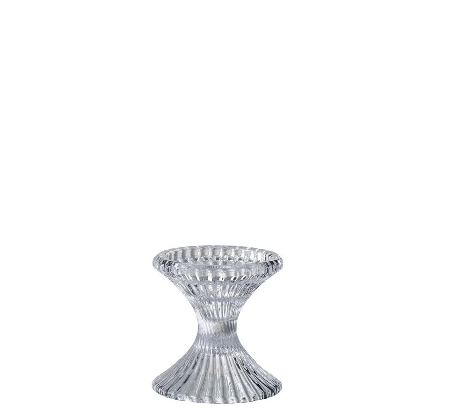 Candlestick Glass Ribbed Transparent - Small