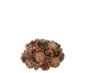 J-Line Tea Light Holder Glass Pine Cones Sugar - Brown