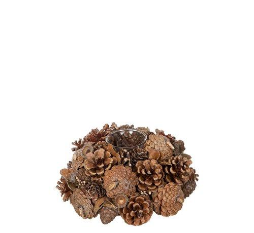 J -Line Tea Light Holder Glass Pine Cones Sugar - Brown